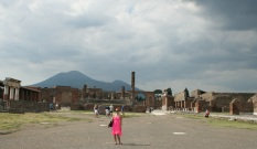 Tiffany in Pompeii with Mount Vesuvius