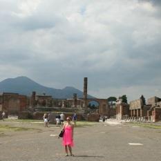 Tiffany in Pompeii with Mount Vesuvius